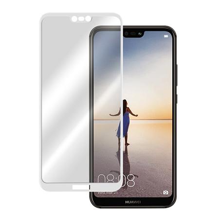 Huawei P20 Lite - hartowane szkło 5D na cały ekran - Biały.