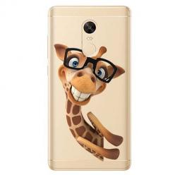Etui na Xiaomi Redmi 5 Plus - Wesoła żyrafa w okularach.
