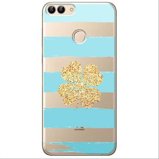 Etui na Huawei P Smart - Złota czterolistna koniczyna.