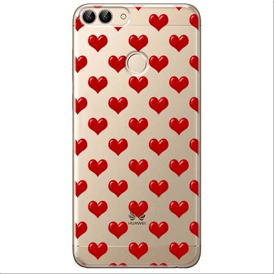Etui na Huawei P Smart - Czerwone serduszka.