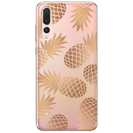 Etui na Huawei P20 Pro - Złote ananasy.