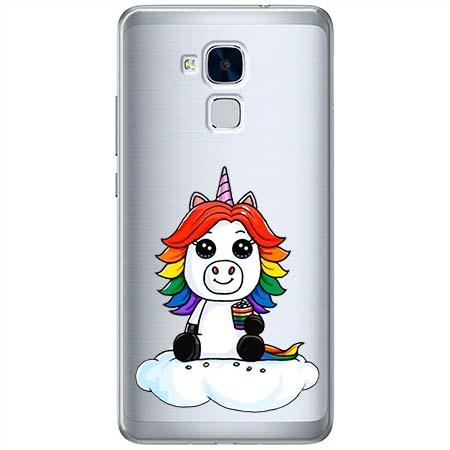 Etui na Huawei Honor 7 Lite - Tęczowy jednorożec na chmurce.