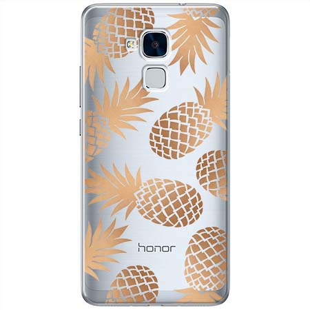 Etui na Huawei Honor 7 Lite - Złote ananasy.
