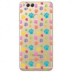 Etui na Huawei Honor 7X - Kolorowe psie łapki.