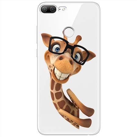 Etui na Huawei Honor 9 Lite - Wesoła żyrafa w okularach.