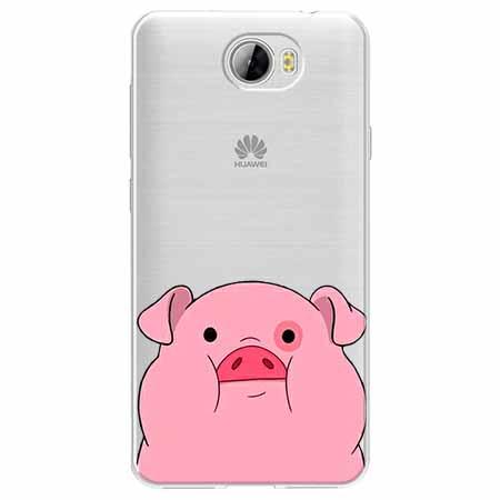 Etui na Huawei Y5 II - Słodka różowa świnka.