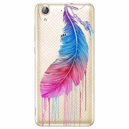 Etui na Huawei Y6 II - Watercolor piórko.