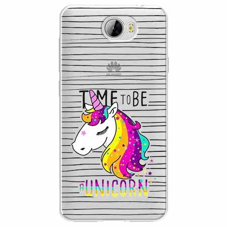 Etui na Huawei Y6 II Compact - Time to be unicorn - Jednorożec.