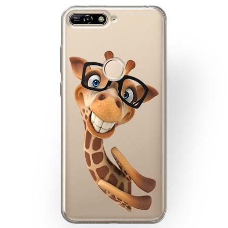 Etui na Huawei Y7 Prime 2018 - Wesoła żyrafa w okularach.