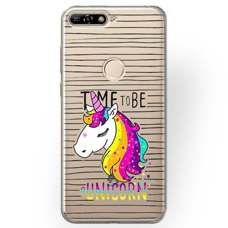 Etui na Huawei Y7 Prime 2018 - Time to be unicorn - Jednorożec.