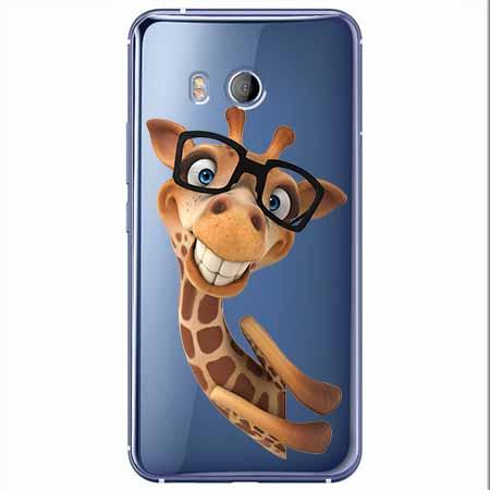 Etui na HTC U11 - Wesoła żyrafa w okularach.