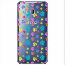 Etui na HTC U11 - Kolorowe psie łapki.