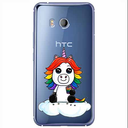 Etui na HTC U11 - Tęczowy jednorożec na chmurce.