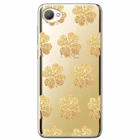 Etui na HTC Desire 12 - Złote koniczynki.