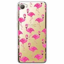 Etui na HTC Desire 12 - Różowe flamingi.