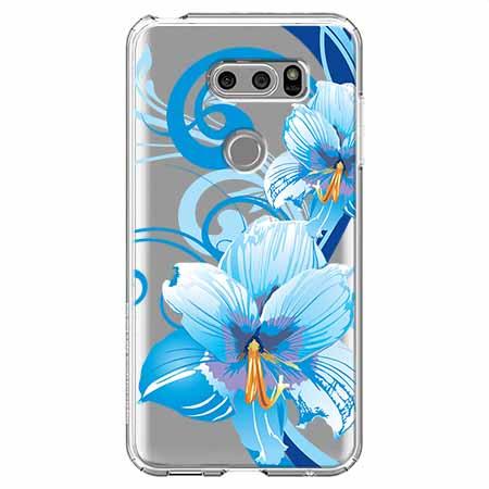 Etui na LG V30 - Niebieski kwiat północy.