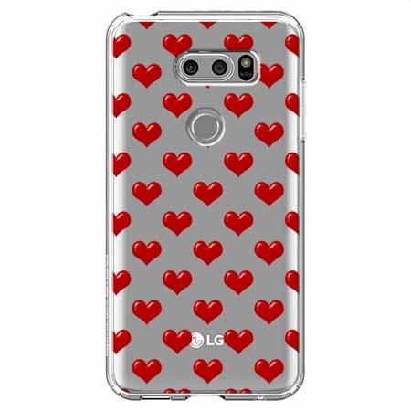 Etui na LG V30 - Czerwone serduszka.