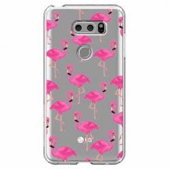 Etui na LG V30 - Różowe flamingi.