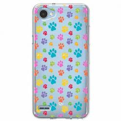 Etui na LG Q6 - Kolorowe psie łapki.