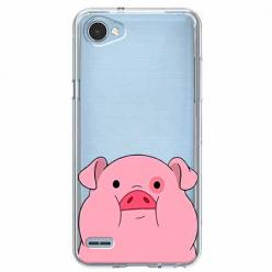 Etui na LG Q6 - Słodka różowa świnka.