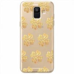 Etui na Samsung Galaxy A6 2018 - Złote koniczynki.