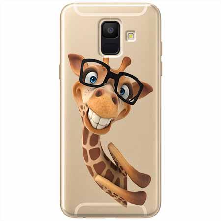 Etui na Samsung Galaxy A6 2018 - Wesoła żyrafa w okularach.