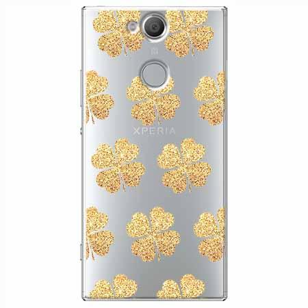 Etui na Sony Xperia XA2 - Złote koniczynki.