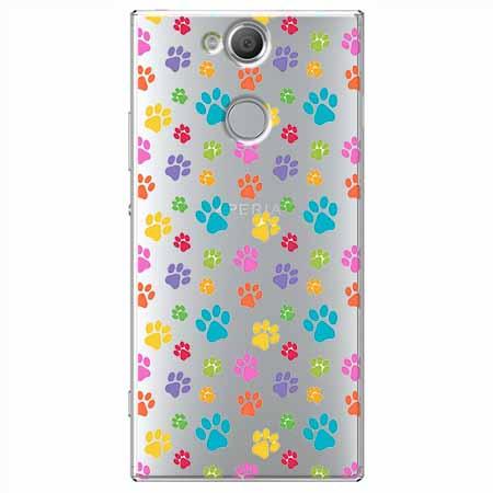 Etui na Sony Xperia XA2 - Kolorowe psie łapki.