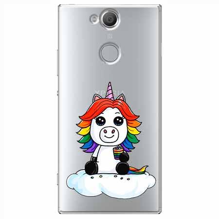 Etui na Sony Xperia XA2 - Tęczowy jednorożec na chmurce.