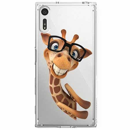 Etui na Sony Xperia XZ - Wesoła żyrafa w okularach.