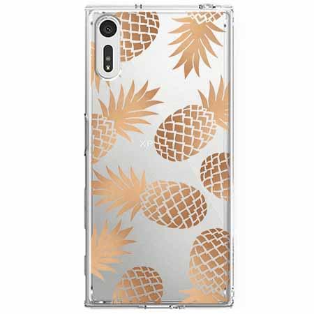 Etui na Sony Xperia XZ - Złote ananasy.