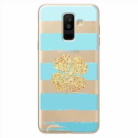 Etui na Samsung Galaxy A6 Plus 2018 - Złota czterolistna koniczyna.