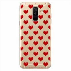 Etui na Samsung Galaxy A6 Plus 2018 - Czerwone serduszka.