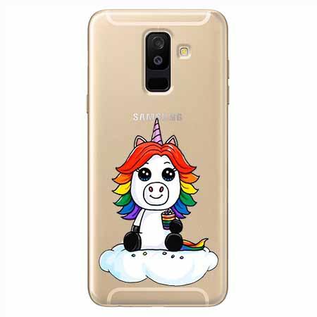Etui na Samsung Galaxy A6 Plus 2018 - Tęczowy jednorożec na chmurce.
