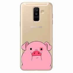 Etui na Samsung Galaxy A6 Plus 2018 - Słodka różowa świnka.