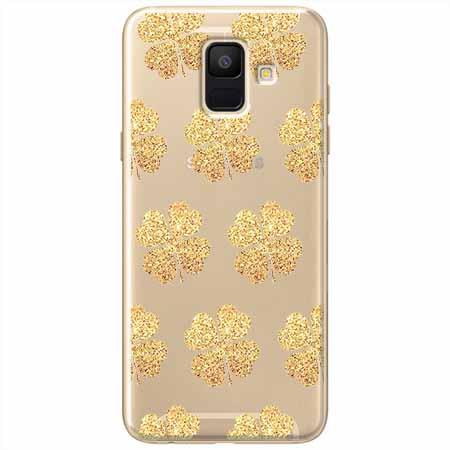 Etui na Samsung Galaxy A8 2018 - Złote koniczynki.