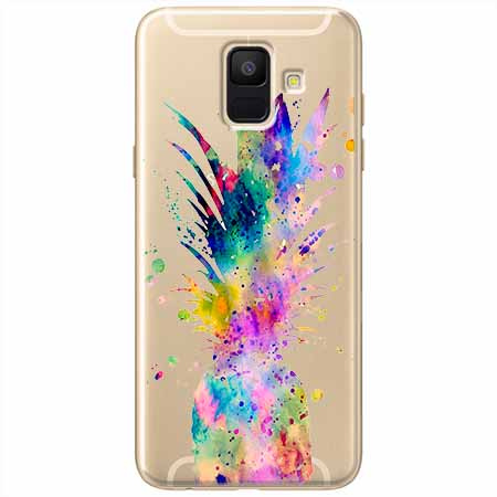 Etui na Samsung Galaxy A8 2018 - Watercolor ananasowa eksplozja.