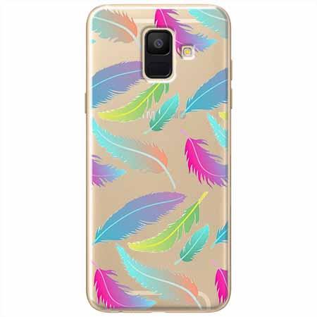Etui na Samsung Galaxy A8 2018 - Tęczowe piórka.