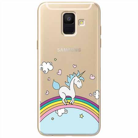 Etui na Samsung Galaxy A8 2018 - Jednorożec na tęczy.