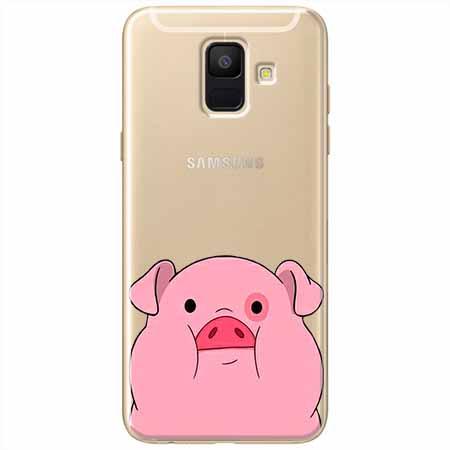 Etui na Samsung Galaxy A8 2018 - Słodka różowa świnka.