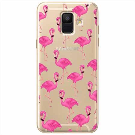 Etui na Samsung Galaxy A8 2018 - Różowe flamingi.