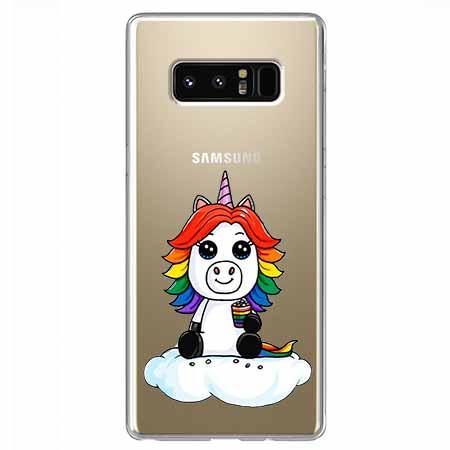 Etui na Samsung Galaxy Note 8 - Tęczowy jednorożec na chmurce.
