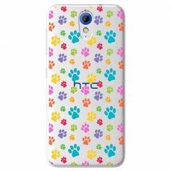 Etui na HTC Desire 620 - Kolorowe psie łapki.