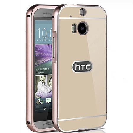 Mirror bumper case na HTC One M8 - złoty.