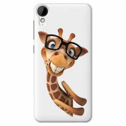 Etui na HTC Desire 825 - Wesoła żyrafa w okularach.