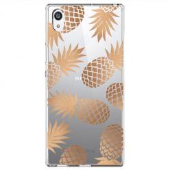 Etui na Sony Xperia E5 - Złote ananasy.