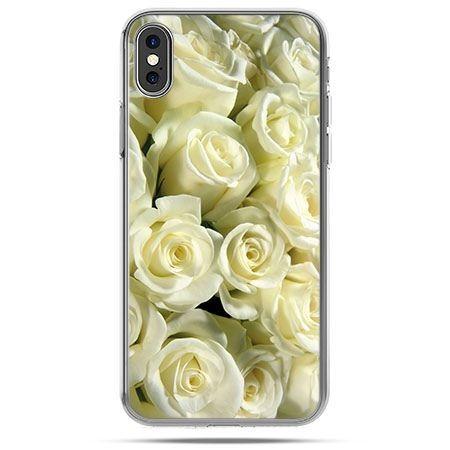 Etui na telefon iPhone XS - białe róże