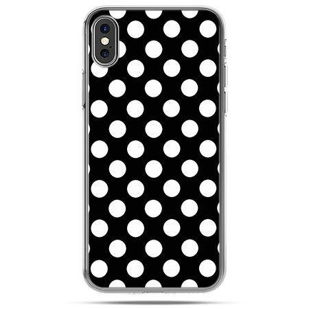 Etui na telefon iPhone XS - Polka dot czarna