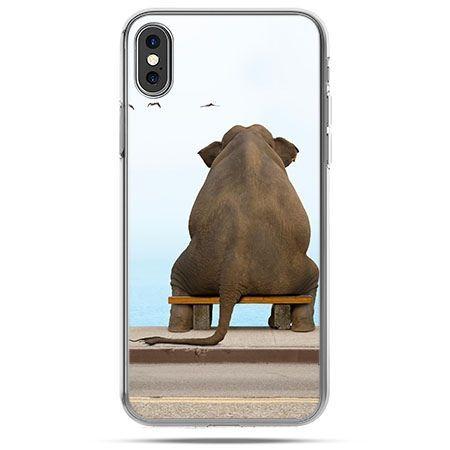 Etui na telefon iPhone XS - zamyślony słoń