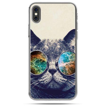 Etui na telefon iPhone XS - kot w tęczowych okularach